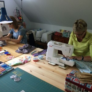 Having fun in the sewing workroom
