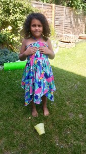 Up-cycled duvet cover making a lovely summer dress.